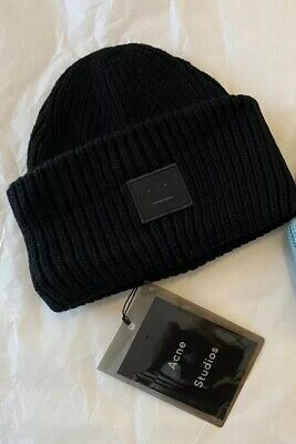2019 NEW Acne Studio Pansy S face Ribbed Wool knit hat cap hat (Black )