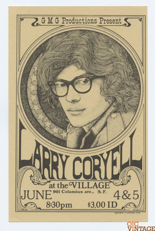 Larry Coryell Handbill 1973 Jun 4 The Village San Francisco