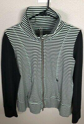 Lululemon Define Jacket Sz 10 Mint Green Black Stripped zipper down Long Sleeve