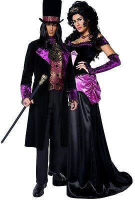 Couples Ladies & Mens Gothic Count & Countess Halloween Fancy Dress Costumes - Mens Gothic Halloween Costumes