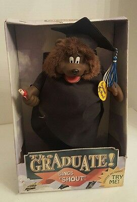 "The Graduate Dog Sings ""Shout"" 1998, Gemmy Rare New In Box"