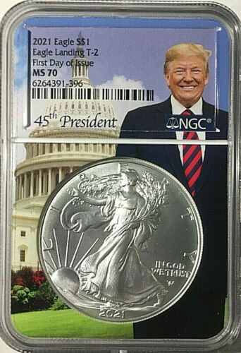 2021 $1 AMERICAN SILVER EAGLE T-2  NGC MS 70 FIRST DAY OF ISSUE - TRUMP 🇺🇸