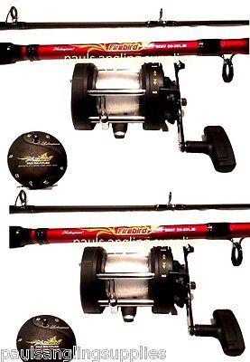 2 x Shakespeare Firebird Boat Fishing Sea Rods Multiplier Boat Reels 12-20lb