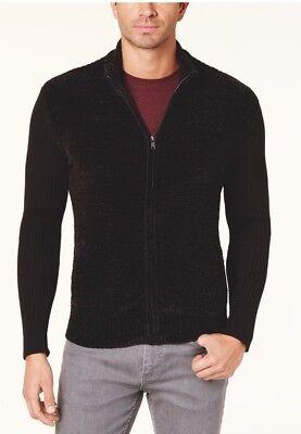 New Alfani Mens Chenille Front Full Zip Sweater Large Black $85