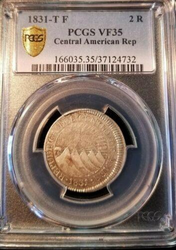 1831 TF CENTRAL AMERICAN REPUBLIC SILVER 2 REALES PCGS VF 35 SCARCE NON PROBLEM