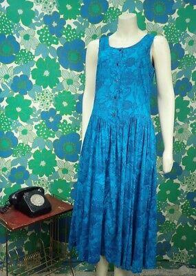 P42 Vintage Indian Cotton 1990's Monsoon Dress Button Down Blue Pockets Size 12