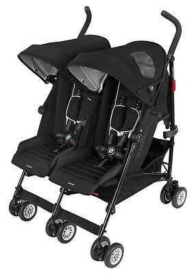 Maclaren BMW Baby Twin Buggy Lightweight Umbrella Fold Double Stroller Black