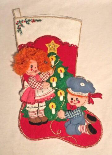 Vintage Bucilla Felt Jeweled Christmas Stocking | Ragdolls #48770