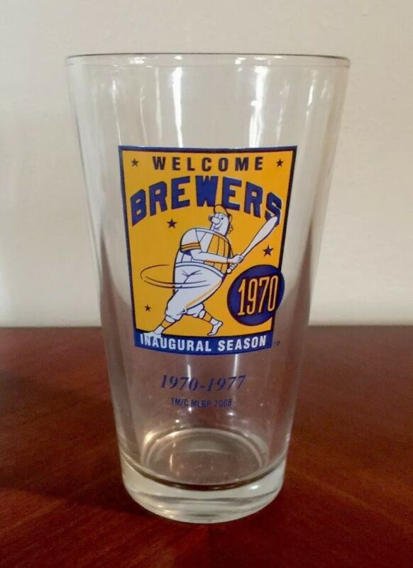 1970 MILWAUKEE BREWERS MILLER LITE Beer Glass Pint Vtg Barrel Man MLB Baseball