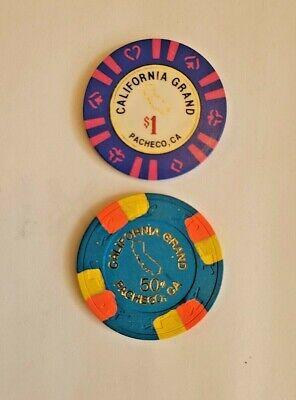 Lot of 2 California Grand $1 + $.50 Casino Chips Pacheco CA California
