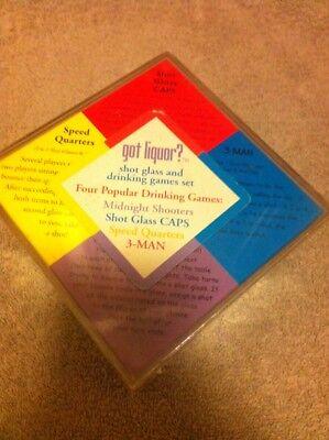 GOT LIQUOR?--SHOT GLASS DRINKING GAME SET--4 GAMES--3 MAN /--FREE - 3 Man Drinking Game