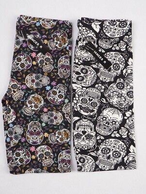 Womens Skull Leggings Day of the Dead Black S M L XL Plus 1X 2X 3X Halloween New - Halloween Leggings Womens