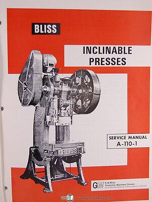 Bliss 21 12-b A-110-1 Inclinable Press Machine Service Manual