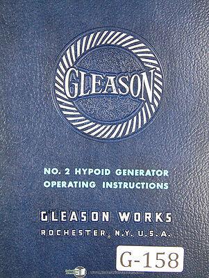 Gleason 2 Hypoid Generator G2h Operators Instructions Manual Year 1953