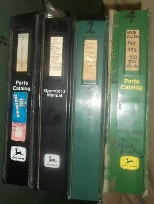 Lot Of 4 John Deere Binders Filled With Parts Manuals Books For Various Machines