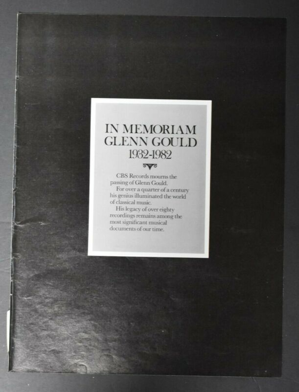 Glenn Gould 1982 Memorium Ad Classical Pianist Toronto Canada Bach