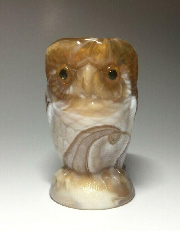 Vintage Imperial Brown Slag Glass Owl Applied Eyes Sugar Bowl/Toothpick Holder