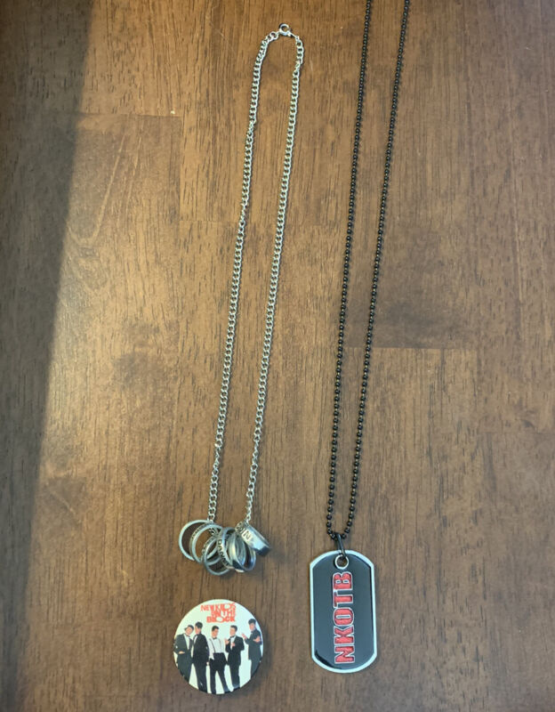 New Kids On The Block Necklace Dog Tag Pin Button NKOTB