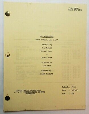 THE JEFFERSONS / Frank Tarloff 1975 TV Script,