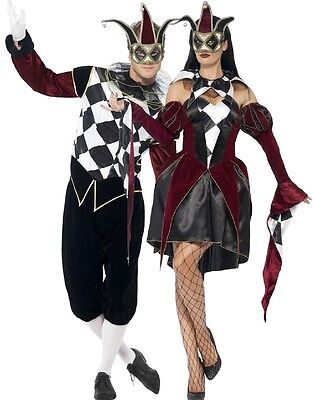 Couples Mens & Ladies Gothic Harlequin Jester Carnival Halloween Costumes Outfit - Mens Harlequin Costume