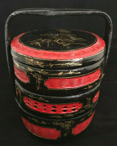 Chinese Wedding Basket 3 tier hand painted Red Black Gold Vintage Asian lacquer