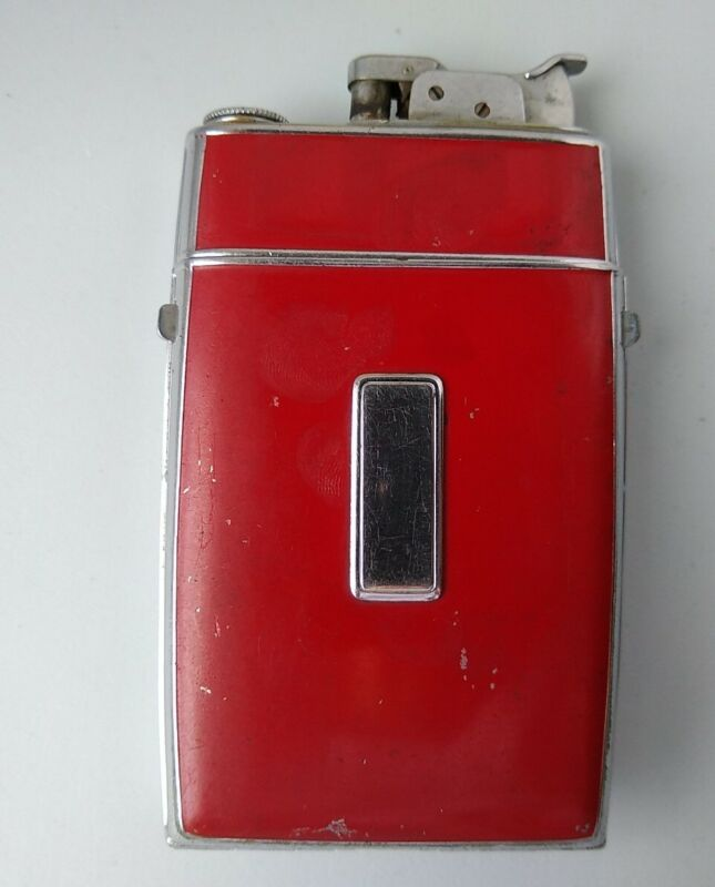 Unusual Vntage Evans Trig-A-Lite on a Red painted cigarette box See Desc