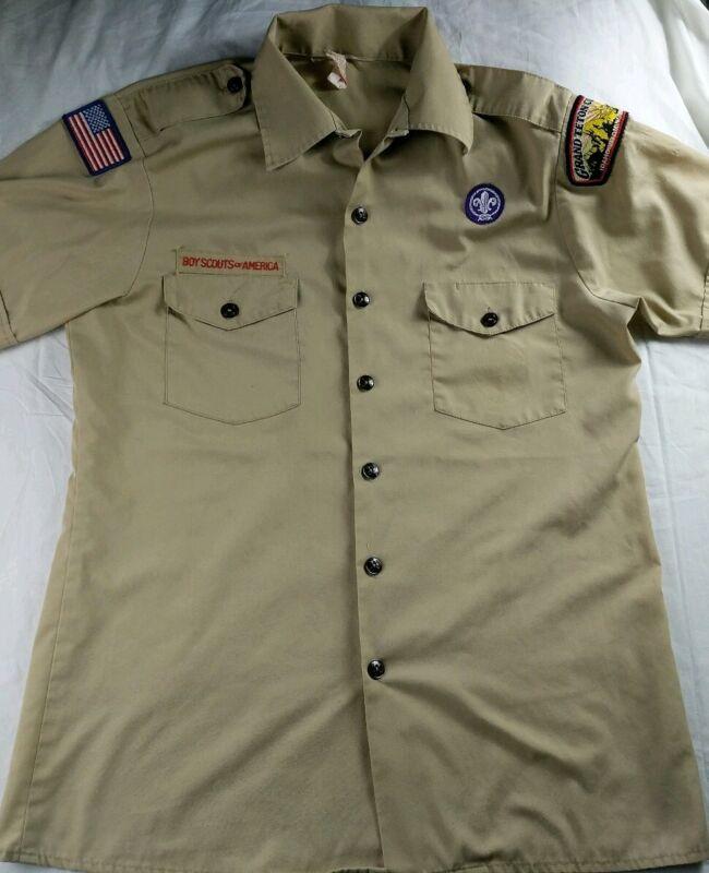Vintage BSA Boy Scout Uniform Shirt Patches Mens Sz Medium