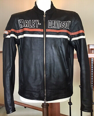 HARLEY DAVIDSON Men's LARGE Black Heavyweight Leather Jacket in VG Condition