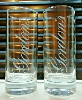 2x VINTAGE GORDON'S GIN GLASSES - TALL HIGHBALL TUMBLER - EXCELLENT CONDITION !!