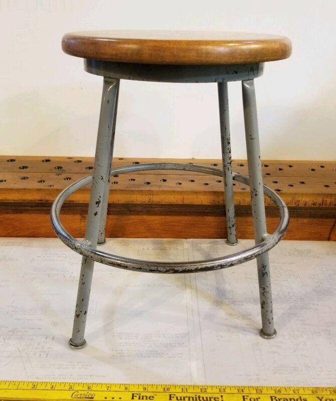 """Reclaimed Vintage Industrial 18"""" Wood/Metal Stool - 14"""" Round Seat #1"""