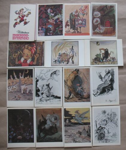 Lot 16 Post card Russian Child SET Fairy tale BURATINO Pinocchio Gold Key USSR