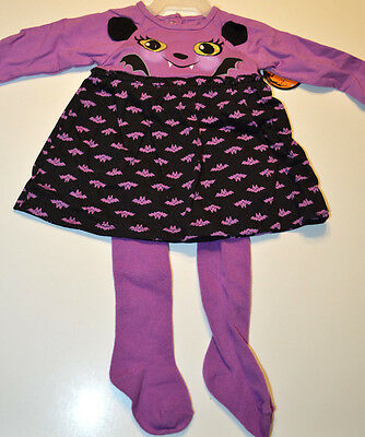 Baby Girl Bat Two Piece Outfit Purple & Black Halloween Set Sizes 0-3M,3-6M,6-9 - Black Halloween Outfit