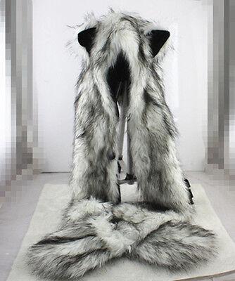 Unisex Wolf Hood Faux Fur Full Animal Hat Winter Warm Hat For Adult Best