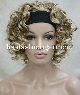 Women Short Curly Ladies 3/4 half wig headband Cosplay wigs Brown Blonde red - Headband Wigs Short