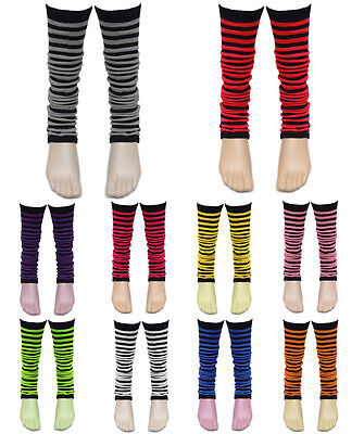80's Neon Leg Warmers Stripes Fancy Dress Hen Flo Night Party Costumes For Tutu](Uniform Fancy Dress For Womens)