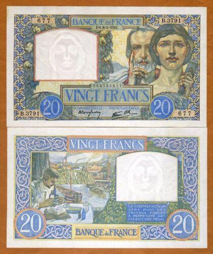 France, 20 francs, 1941, P-92b, WWII UNC
