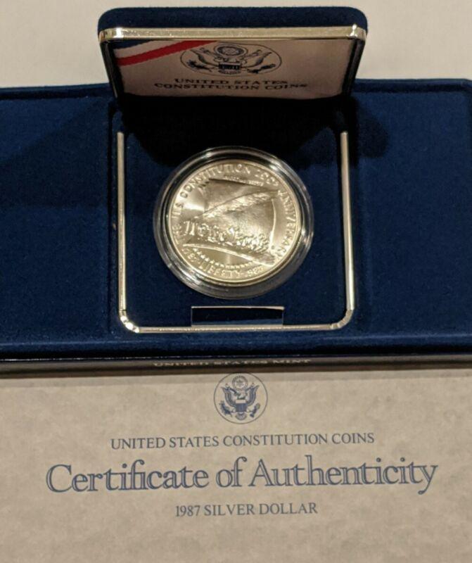 1987 Constitution Commemorative Silver Dollar  Uncirculated w/ BOX and COA RARE