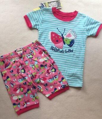 New Hatley Girls Butterfly Cotton PJ Set Top & Shorts Aqua Pink sz 4,8,12 Butterflys Girls Cotton Pajamas