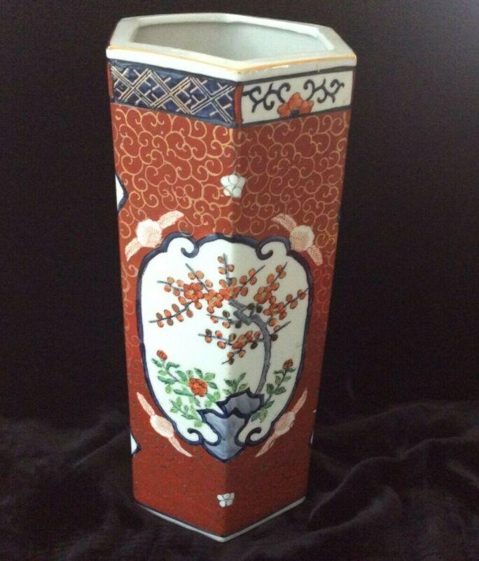 A Beautiful Vintage Chinese Hand Painted Vase HavingHexagonal Shape