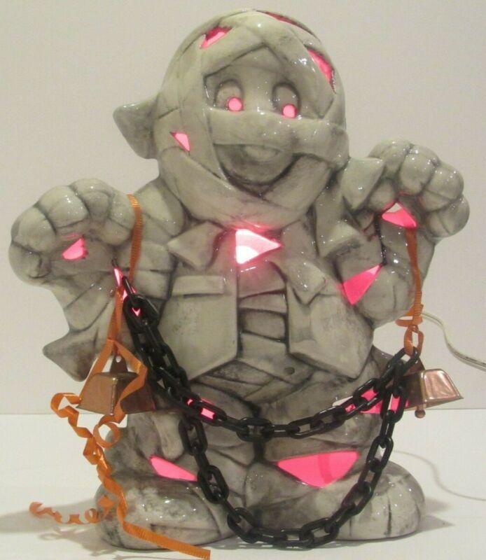 "Ceramic Mummy Figure Statue Light Up Halloween Decor 10"""