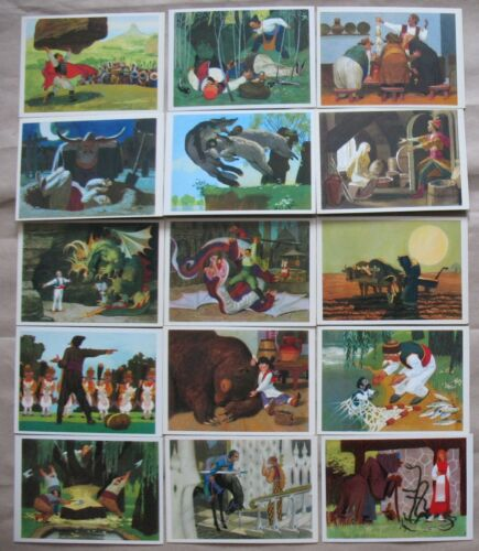 Lot 16 Russian Child POST CARD SET Fairy-tale Bulgarian PC Illustrations Kid