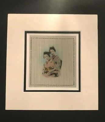 Hand Painted Silk Handkerchief Triple Mounted and framed #1
