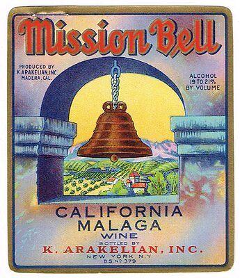 "1936 MISSION BELL WINE BOTTLE LABEL MADERA CALIFORNIA GENUINE MALAGA 3.25X4"""
