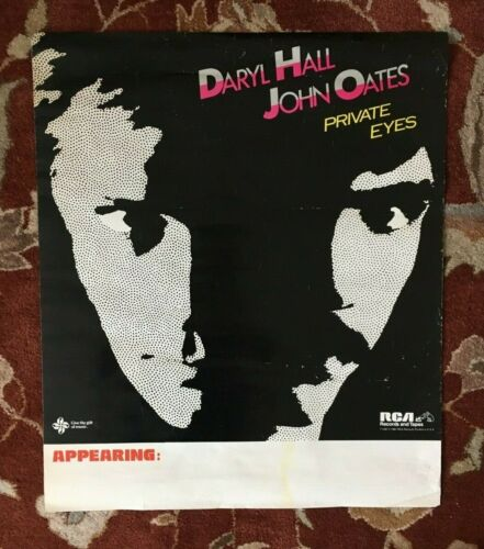 HALL & OATES  Private Eyes  rare original promotional poster