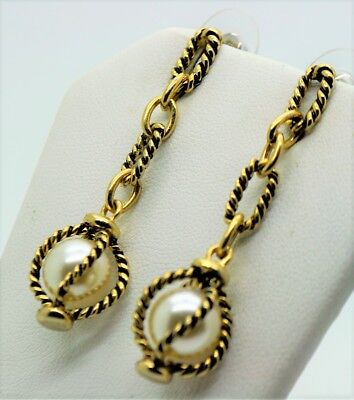 A095 Gorgeous Design Post  gold Plated Cream Pearl Dangle/drop fashion Earrings