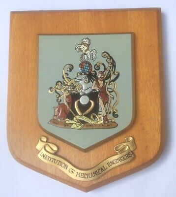 VINTAGE HAND PAINTED WALL PLAQUE  - INSTITUTION OF MECHANICAL ENGINEERING