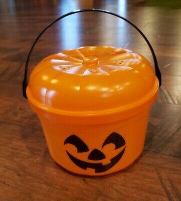 Vintage McDonalds Halloween Pumpkin Trick or Treat Pail Bucket 1986 W/Lid RARE!