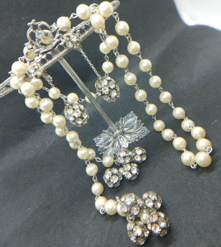 Vintage Rhinestone Ball/Pearl Necklace and Earrings Set~Wrap Necklace