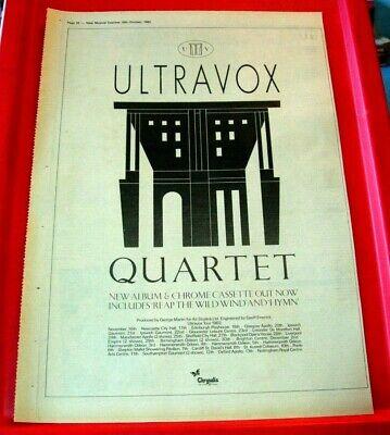 Ultravox Quartet/UK Tour Vintage ORIGINAL 1982 Press/Magazine ADVERT Poster-Size