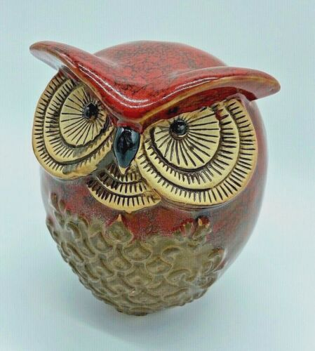 Large Spotted Owl Art Pottery Figurine